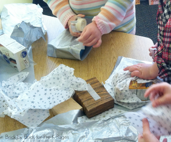 gift wrapping center for preschool