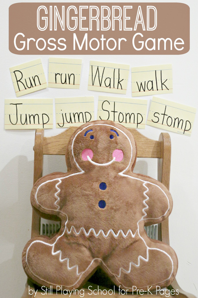 gingerbread gross motor game for preschool