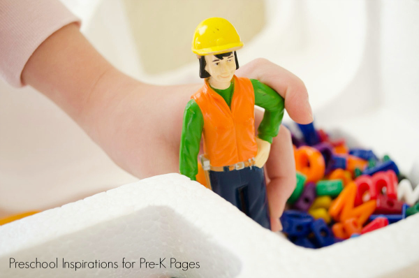 toy construction man for alphabet dig activity