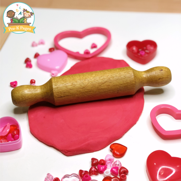 Rolling Red Playdough for Valentines Day