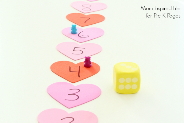 valentine heart number line game with dice