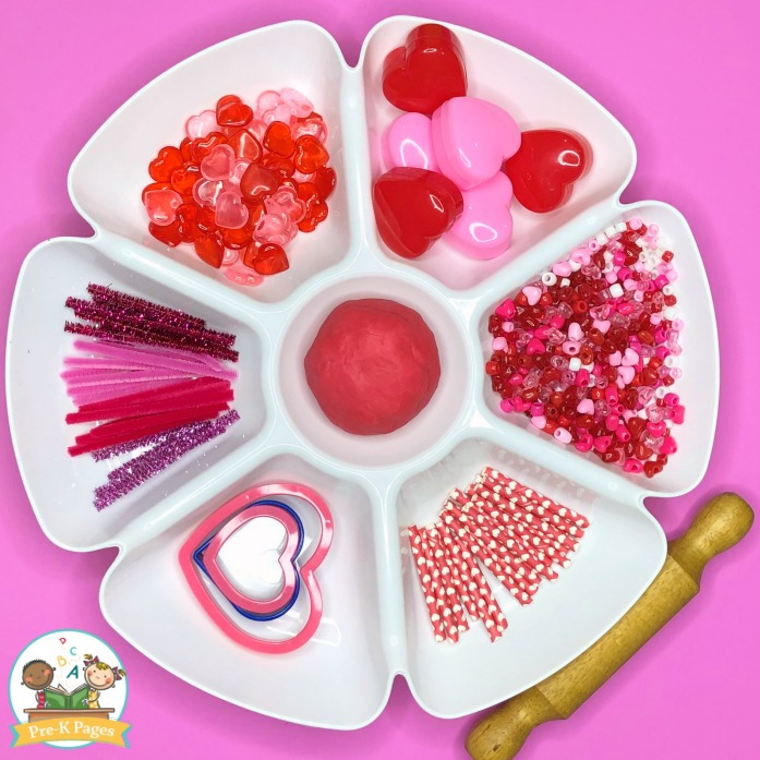 Valentines Day Play Dough Tray