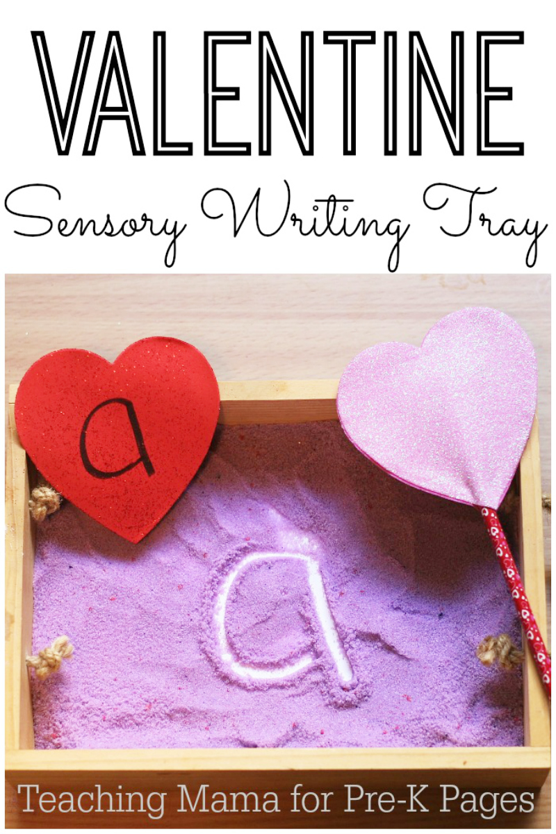 Valentine Sensory Writing Tray for preschool