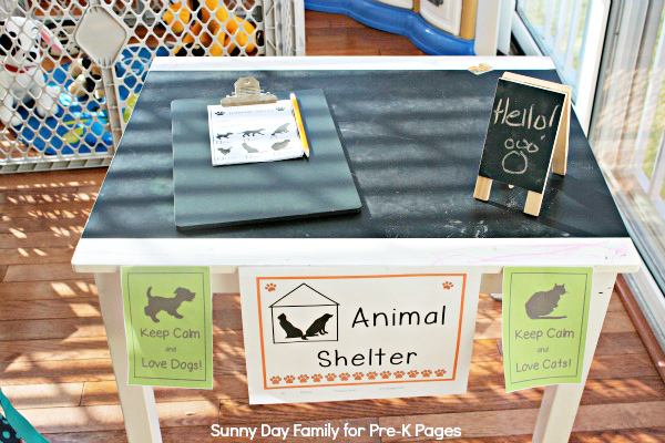 animal shelter dramatic play front desk