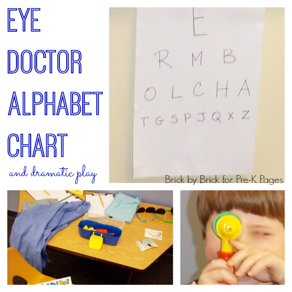eye doctor alphabet chart and dramatic play center