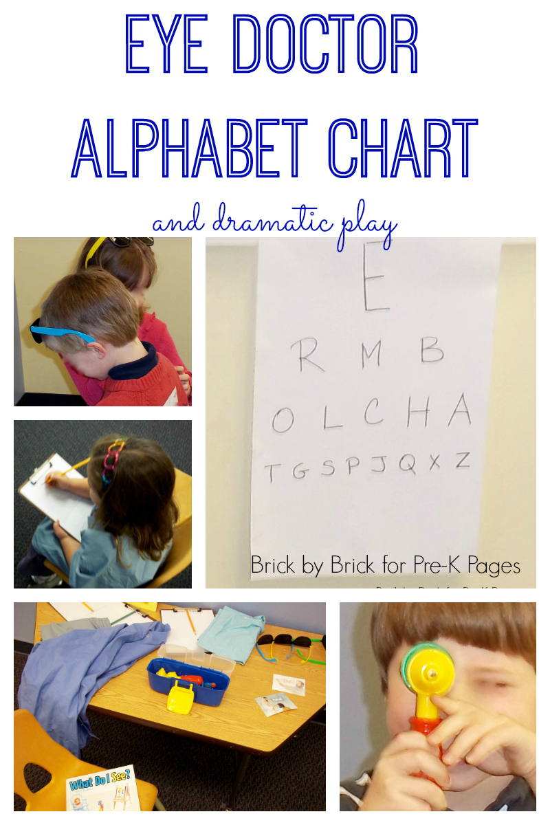 eye doctor alphabet chart and dramatic play