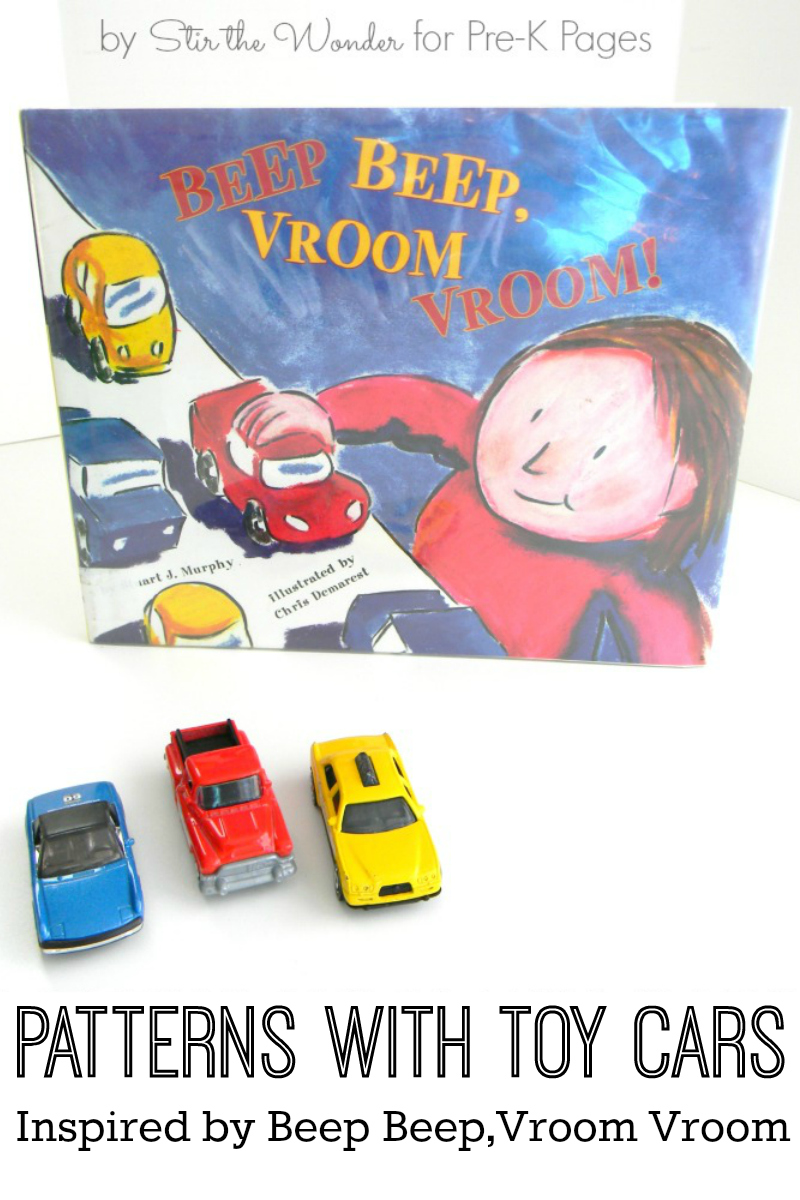 patterning with toy cars for preschool