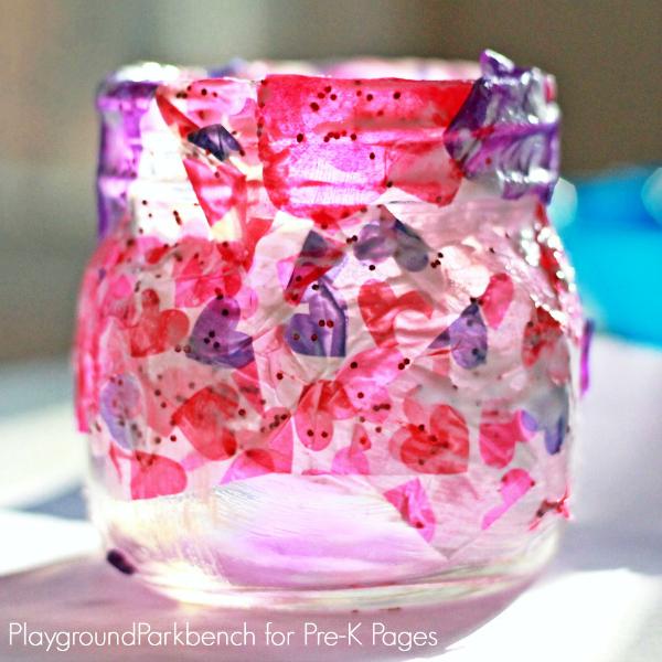 Valentine lantern glass jar covered in tissue paper