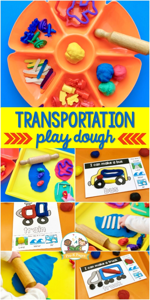 Play Dough Task Cards Transportation Theme