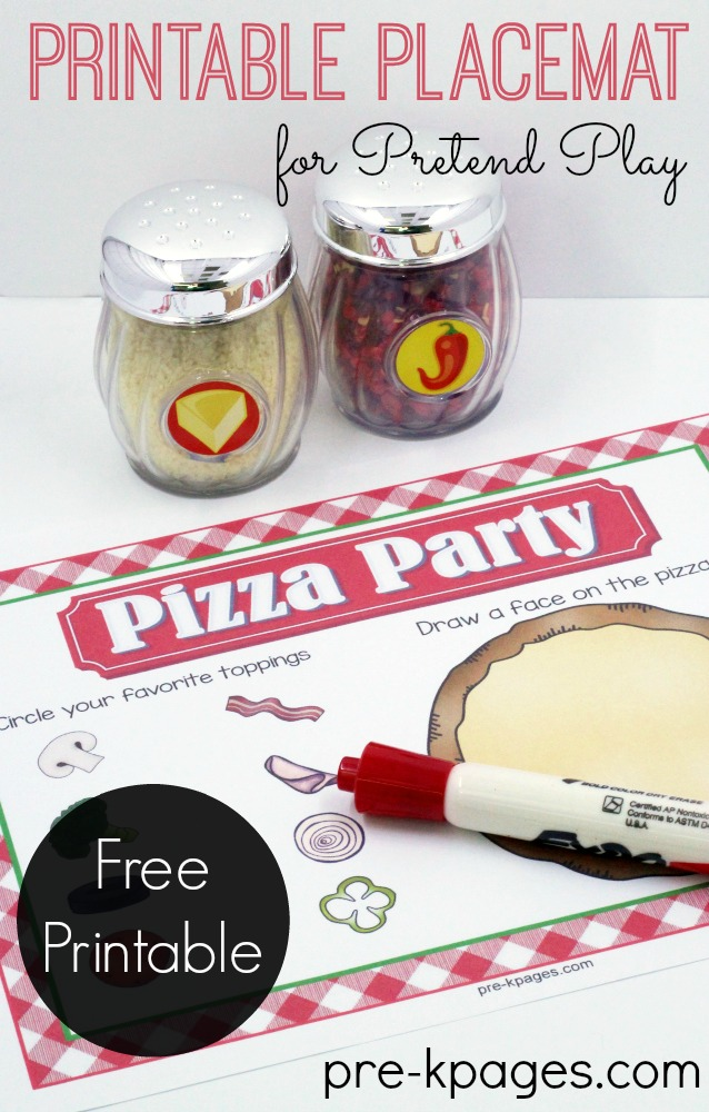 Printable Placemat for Pretend Play Pizza Shop