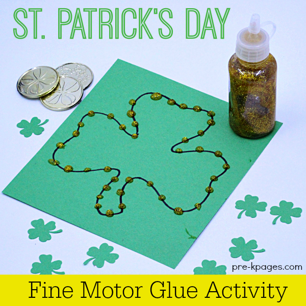Squeezing Glue on shamrock Fine Motor activity