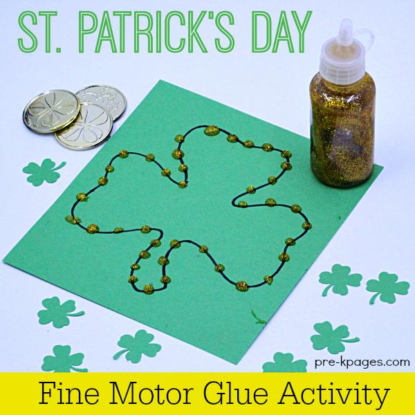 Squeezing Glue on shamrock Fine Motor activity