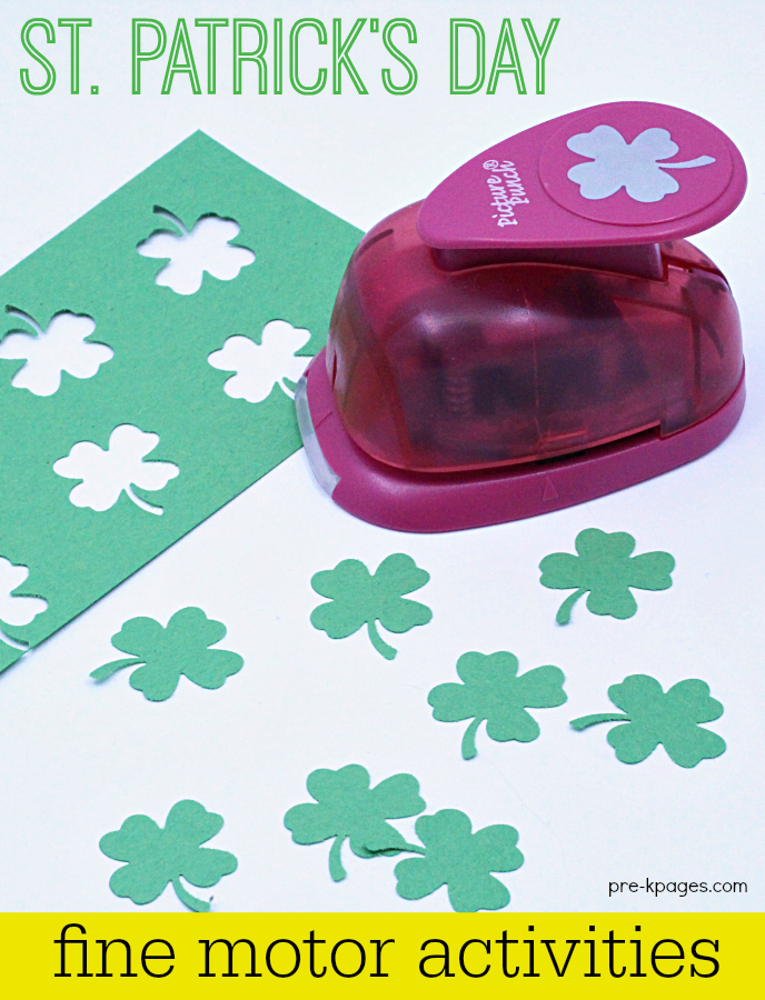 St Patricks Day Fine Motor Activity shamrock paper punch