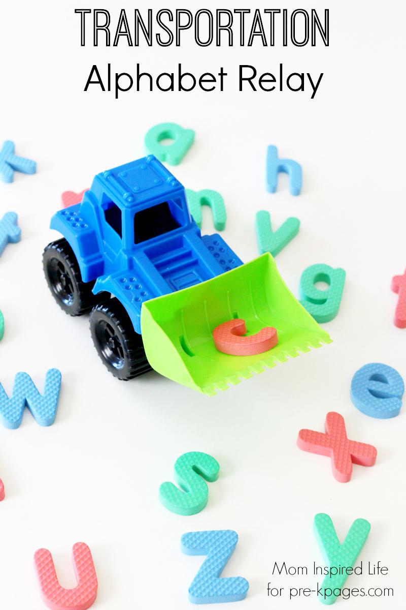 Transportation Alphabet Relay for preschool