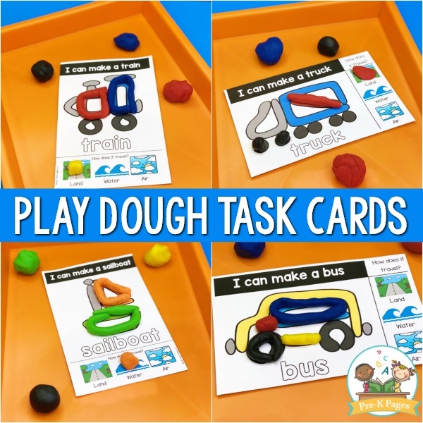 Transportation Play Dough Task Cards
