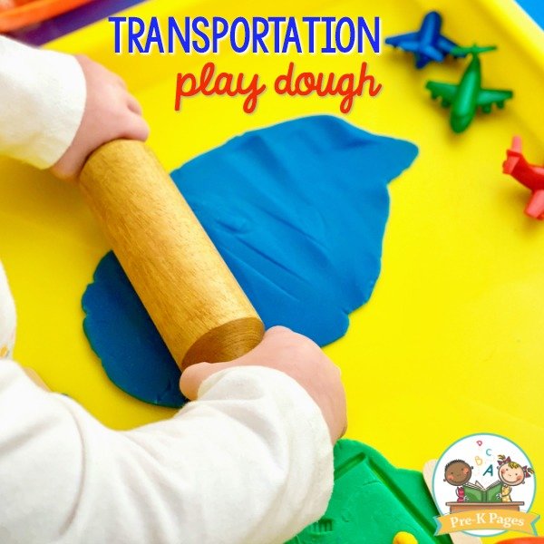 Transportation Play Dough Tray for Preschool