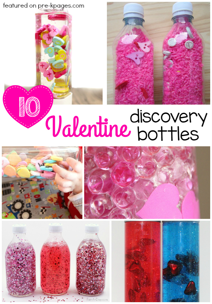 Valentine Discovery Bottles for Preschool photo collage