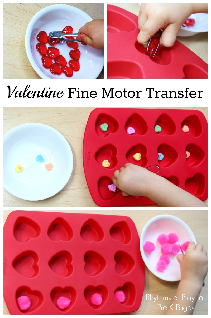 hands sorting hearts for fine motor activity