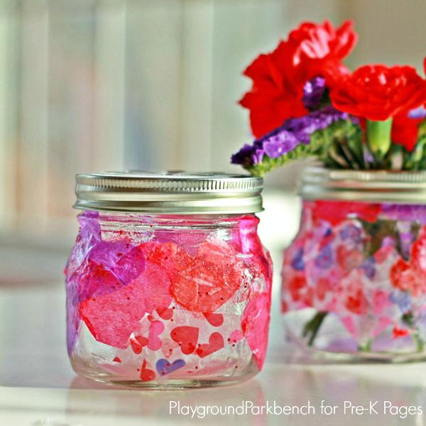 Valentine Lanterns made out of glass mason jars