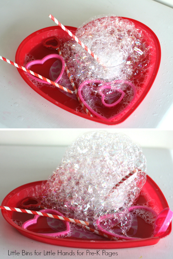 bubble towers in a heart shaped dish
