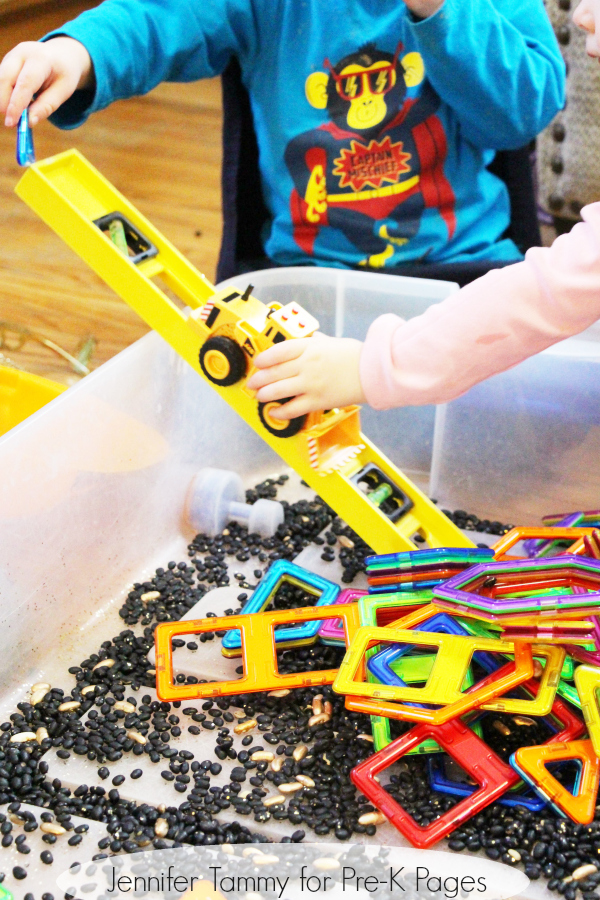 construction sensory bin for preschoolers