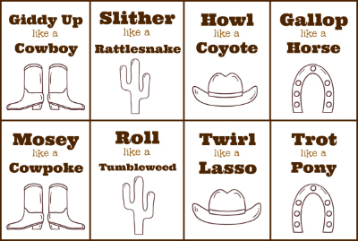 cowboy cards for gross motor activity