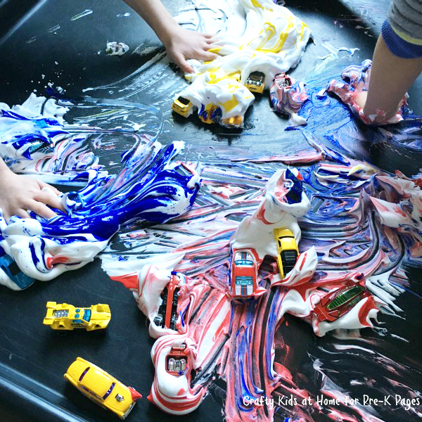 color mixing with cars and shaving cream