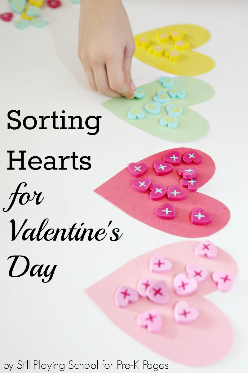 color sort heart valentines for preschool