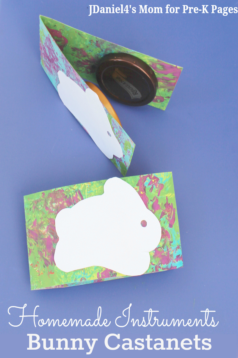 Homemade Instruments Bunny Castanets for preschool