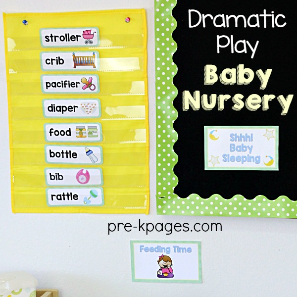 Printable Word Cards for Baby Nursery Pretend Play in Preschool