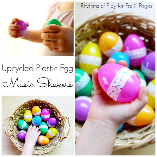 Upcycled plastic egg music shakers for preschool
