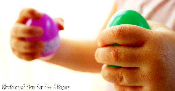 Child shaking Upcycled plastic egg music shakers