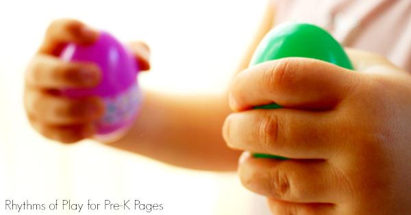 Child shaking Upcycled plastic egg music shakers