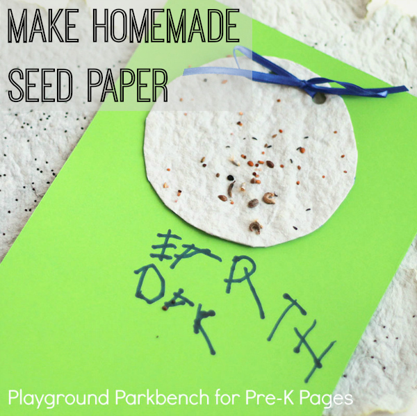 homemade seed paper for earth day preschool