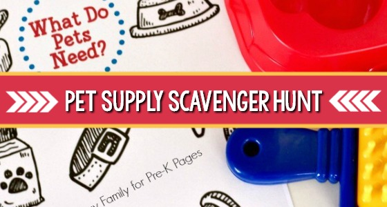 Pet Theme Supply Scavenger Hunt