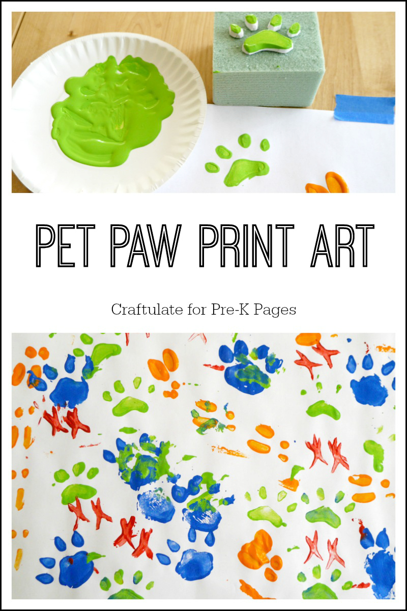 pet paw print art for preschool