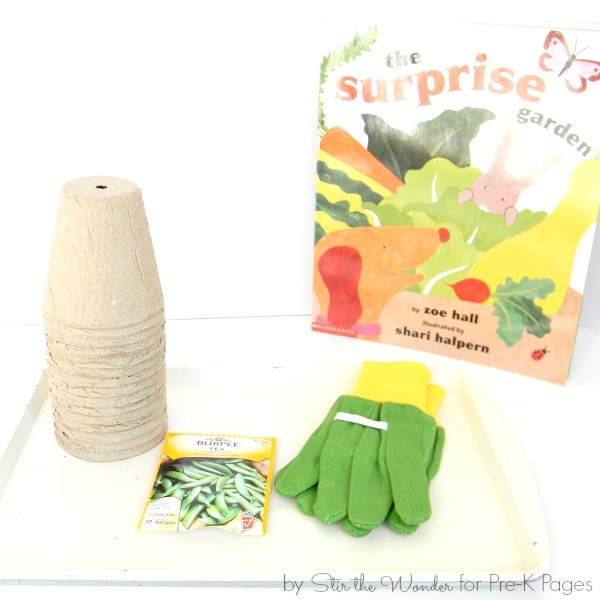 peat pots, seeds, and gardening gloves