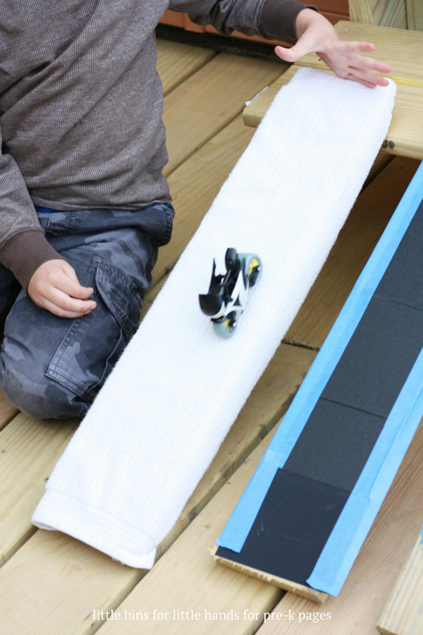Ramps and friction for kids physics activity