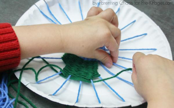 fine motor earth day weaving