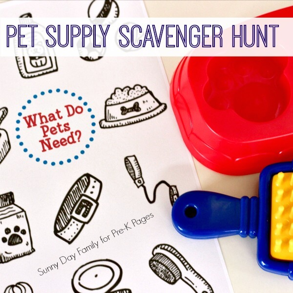 pet theme scavenger hunt