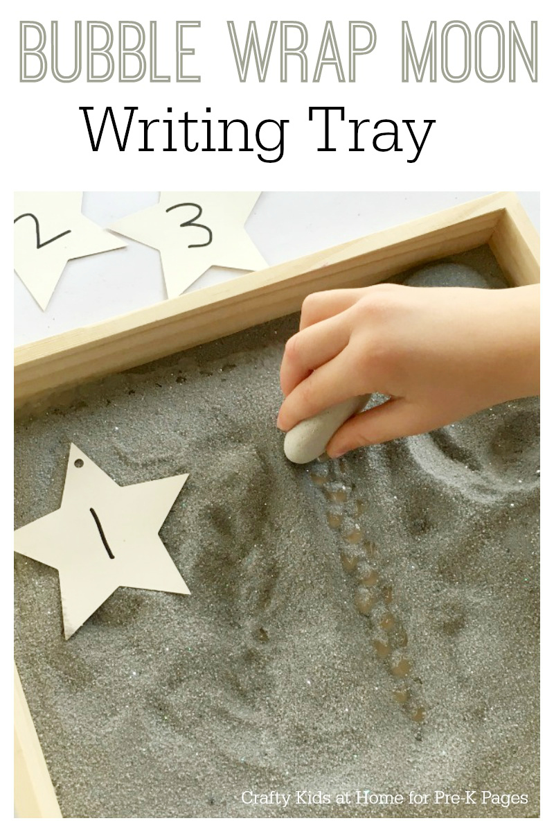 Bubble Wrap Moon Writing Tray for preschool