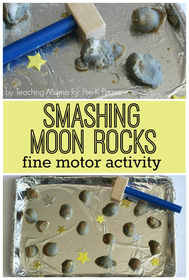 Smashing Moon Rocks fine motor activity for preschool