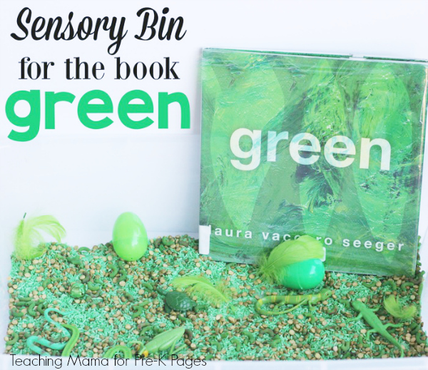 Green sensory bin for preschool