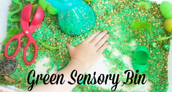 Green: One Color Sensory Bin