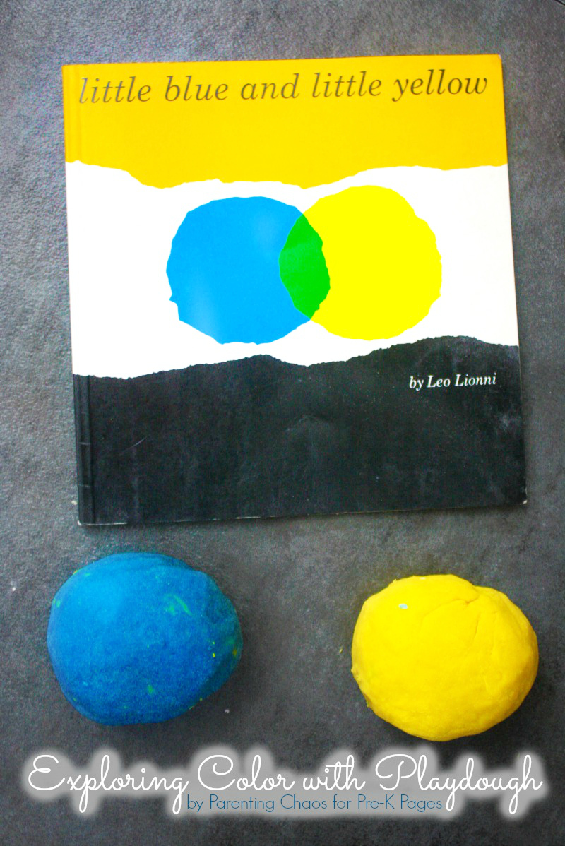 Little blue and little yellow book and two balls of play dough