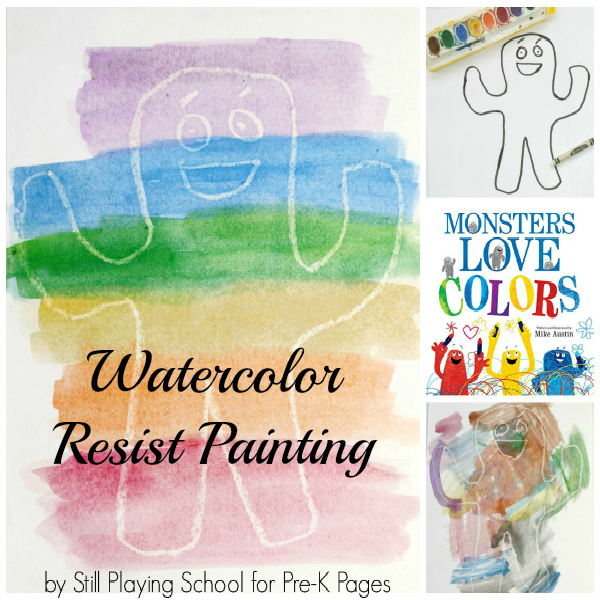 Monsters Love Colors Watercolor Resist activity