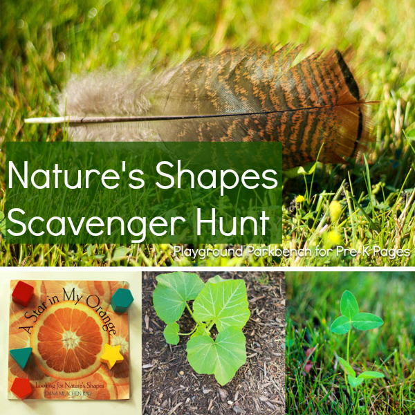 Nature Shape Scavenger Hunt for preschool