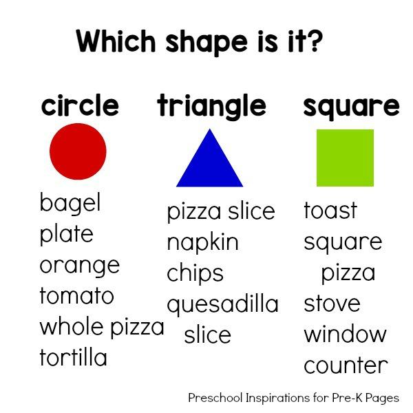 shape word chart pre-k