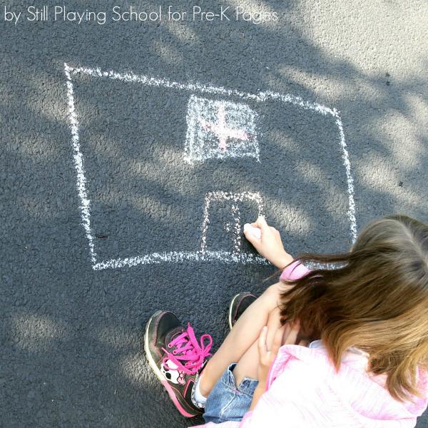 shape art activity chalk drawing