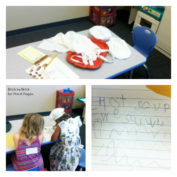 dramatic play restaurant writing
